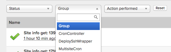 Select a group from the Group select box to view it