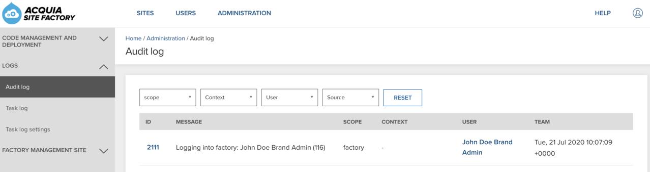 Audit log overview webpage
