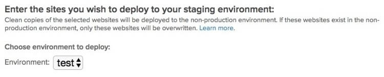 Select an environment
