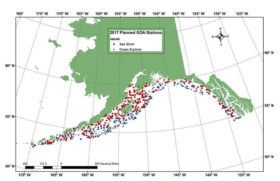 Proposed sample stations for the Gulf of Alaska Bottom Trawl Survey.