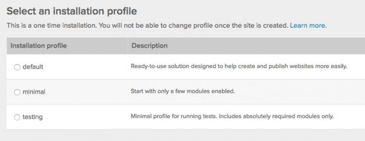 Choosing an installation profile when you create a new website