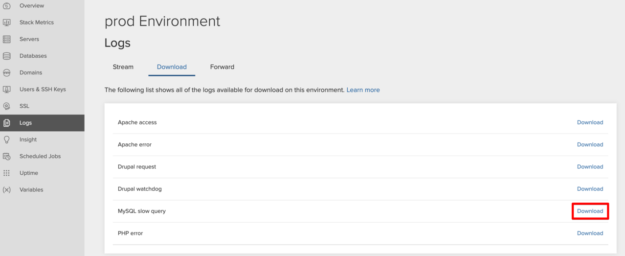 Downloading a slow query log — Acquia Product Documentation