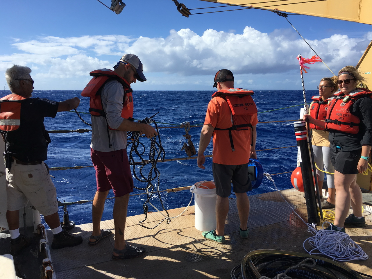 The HICEAS 2017 acoustic team releases a DASBR on the NOAA Ship Oscar Elton Sette. Photo credit: NOAA Fisheries/Amanda Bradford.