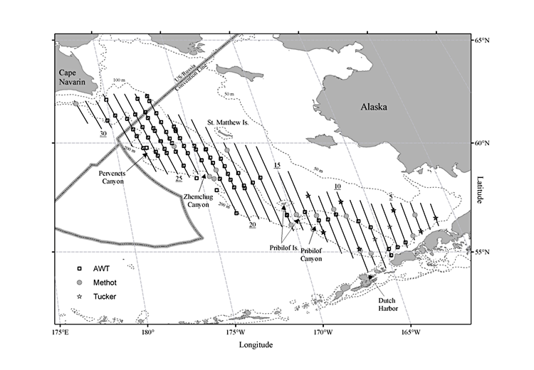 Planned survey transects for the 2018 Acoustic-Trawl Pollock Survey of the eastern Bering Sea.