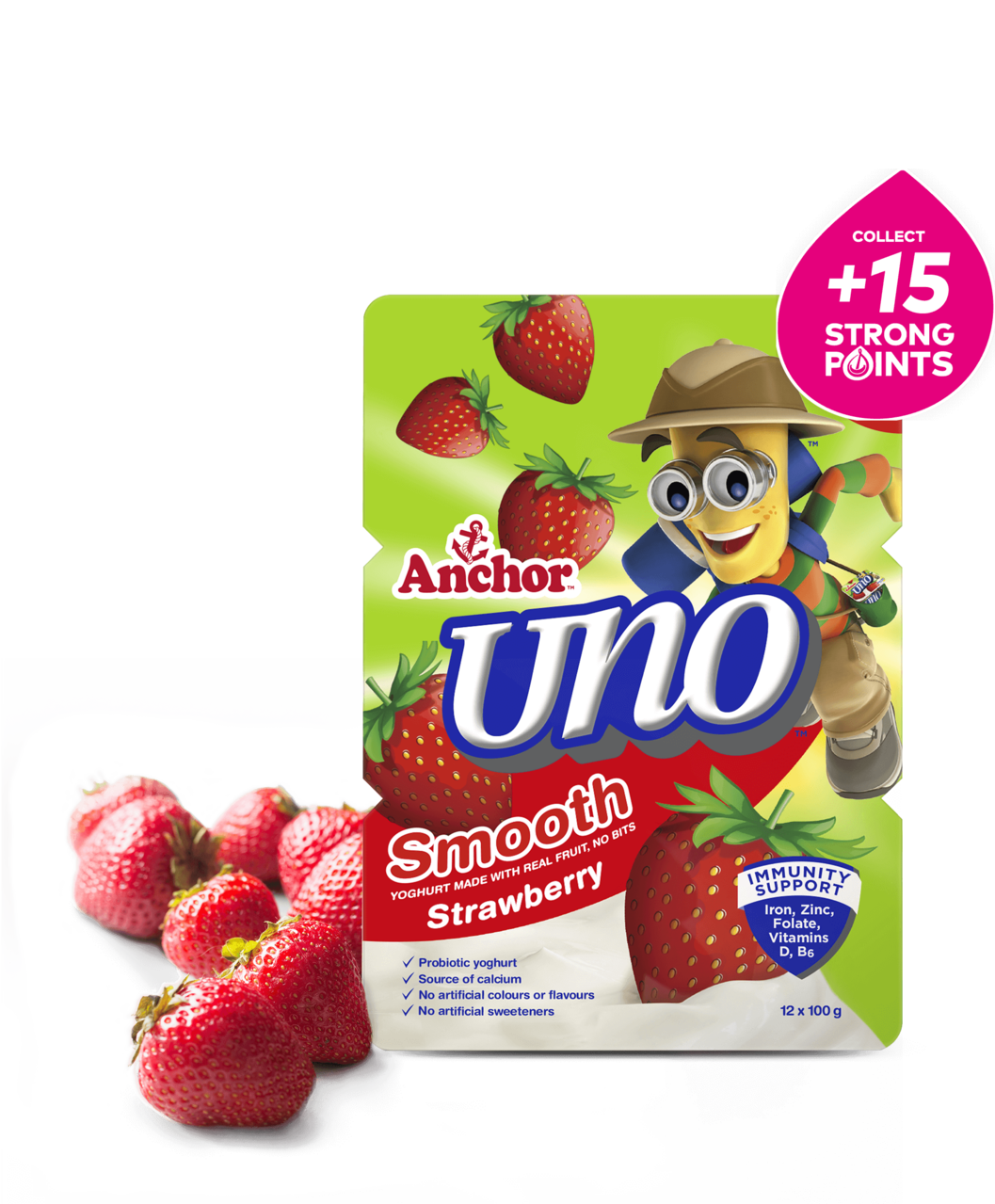 Anchor Uno Strawberry Yoghurt 12 x 100g pack