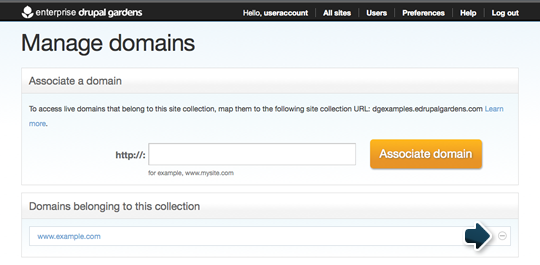 Custom domain removal button