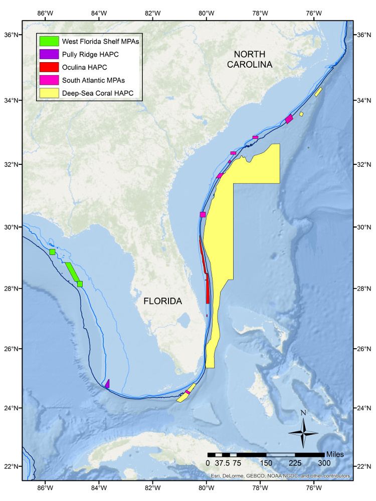 Map of 5 major research areas of Marine Protected Areas in the Gulf of Mexico and Atlantic Ocean.