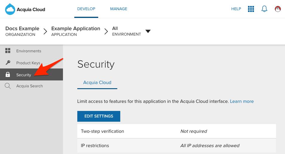 Editing security settings