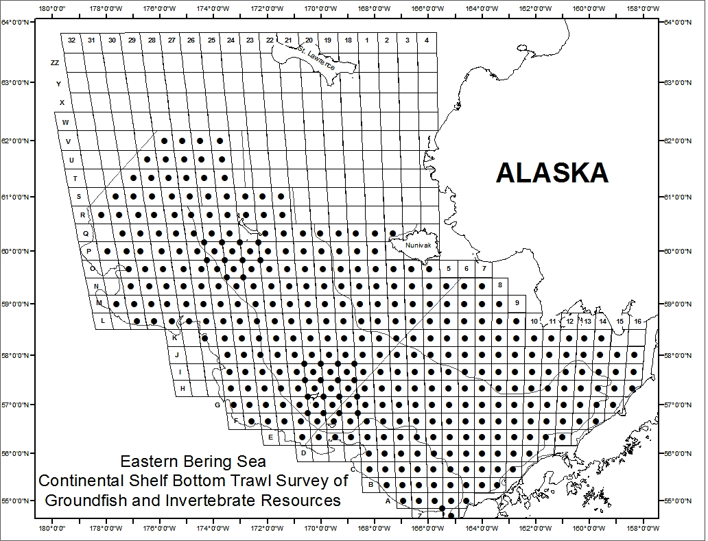 Planned sample stations for the eastern Bering Sea Continental Shelf Bottom Trawl Survey.