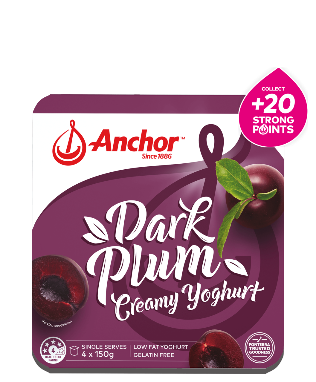 Anchor Plum Yoghurt 4 x 150g pack