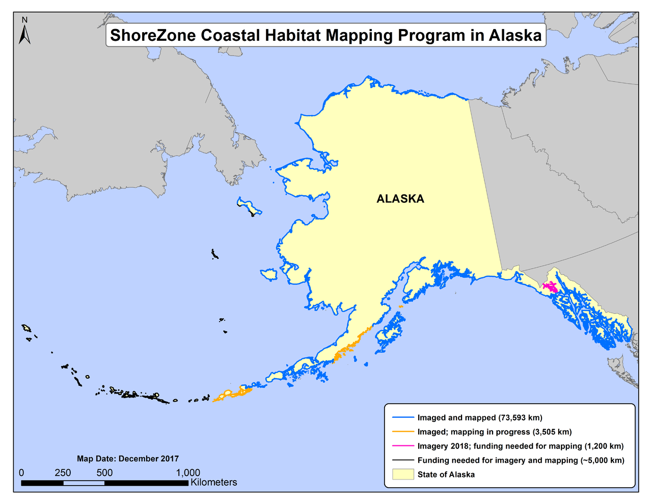 ShoreZone Alaska coastline as of December 2017