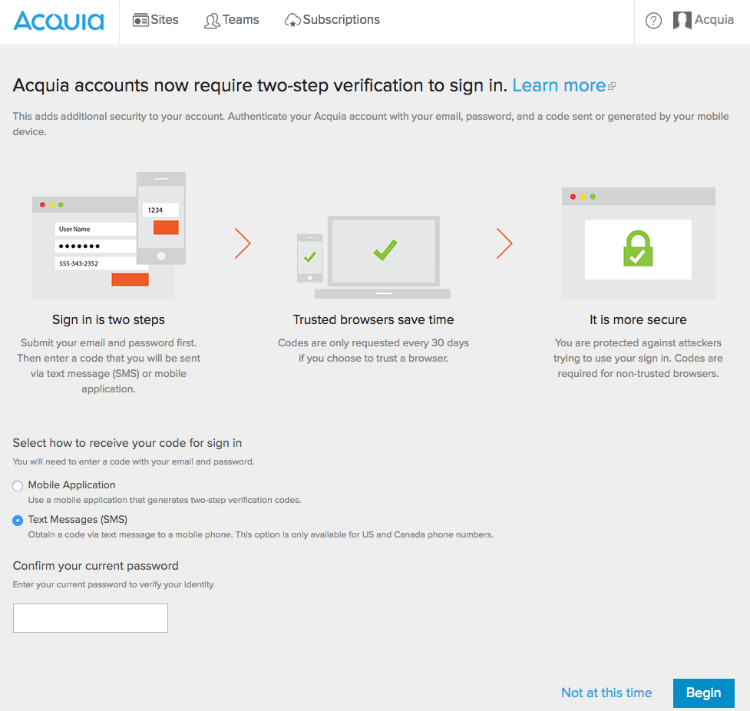 using two factor authentication with your acquia user account