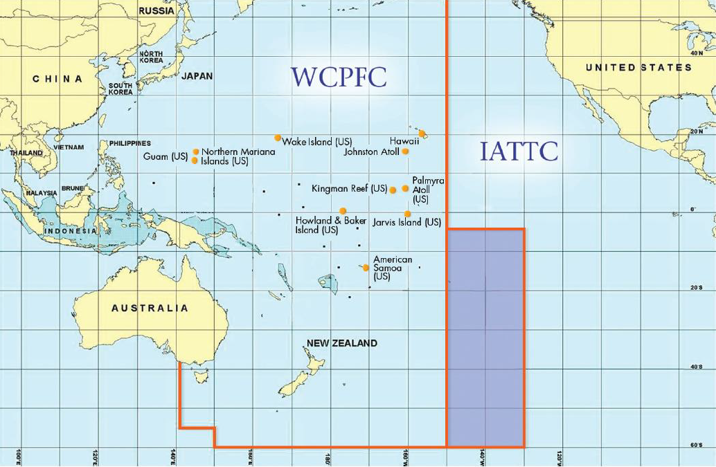 Map of the Pacific Ocean divided by jurisdictional RFMO lines. The darker blue area is under both WCPFC and IATTC jurisdiction. Orange dots represent jurisdiction of the Western Pacific Regional Fishery Management Council.