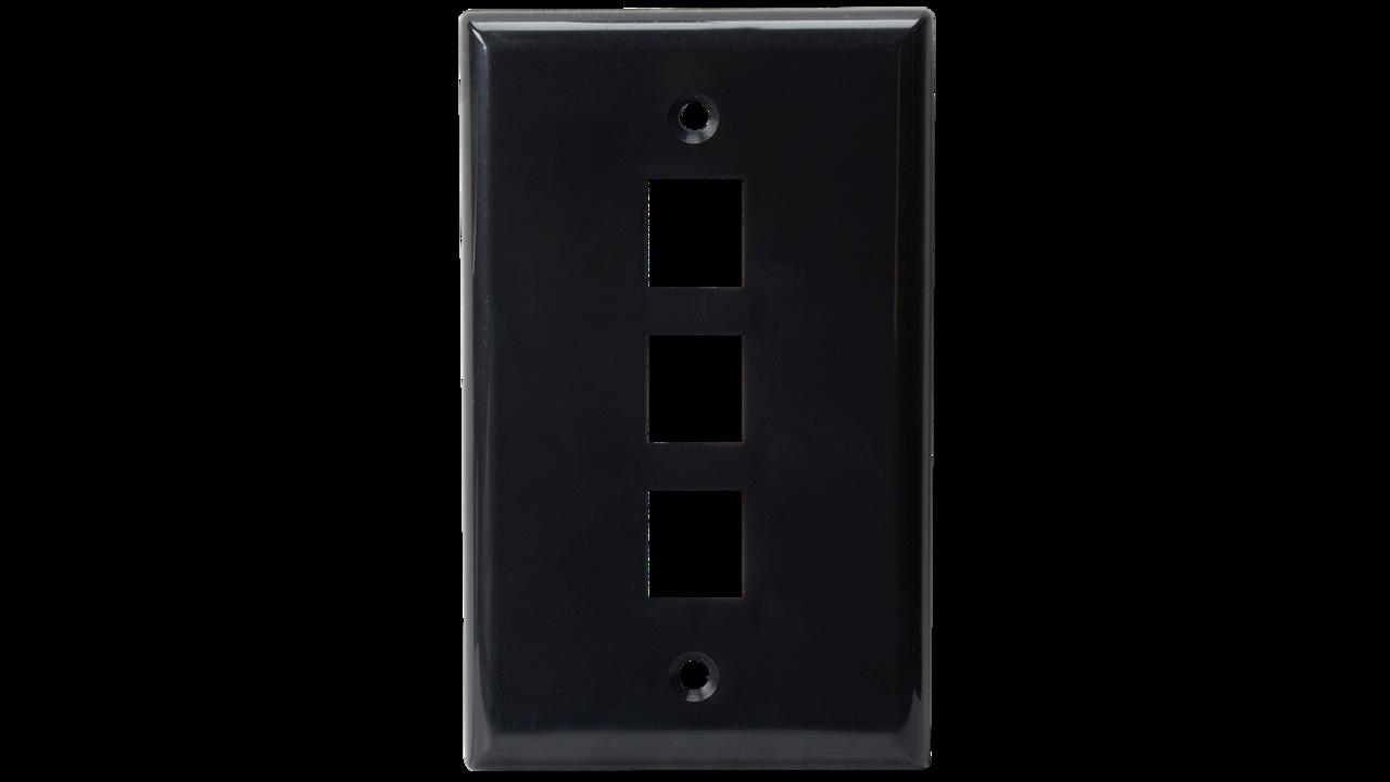 WP-N3-AL - Keystone single gang 3-port smooth faceplate