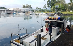 Fishing boat docked at Hilo Harbor, Hawaii