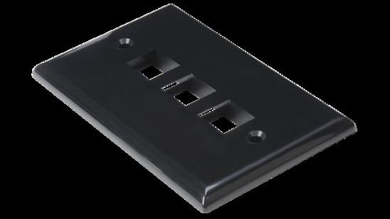 Keystone single gang 3-port smooth faceplate