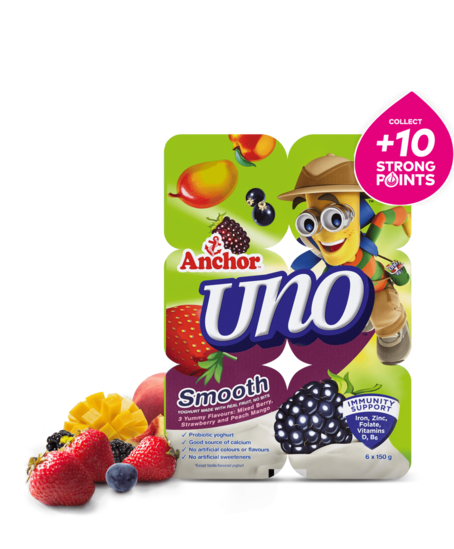 Anchor Uno Mixed Berry, Strawberry & Peach Mango Yoghurt  6 x 150g