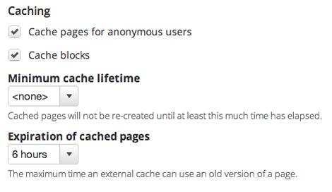 Drupal 7 cache settings