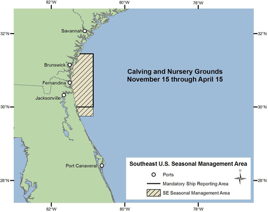 Map of Seasonal Management Area off of Georgia and Florida