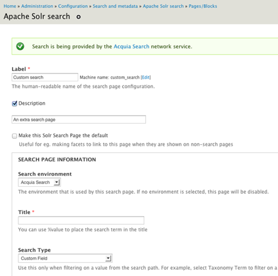 Configuring a search page